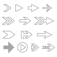 Black outline arrows. Collection of flat icons