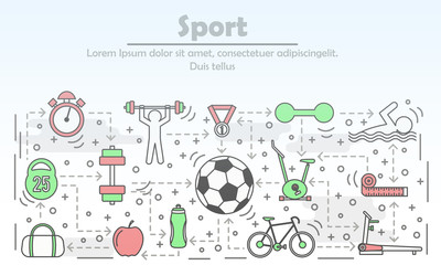 Sport advertising vector illustration in flat linear style