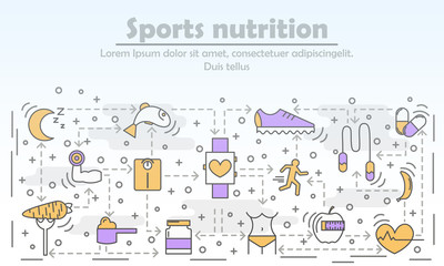 Sports nutrition advertising vector illustration in flat linear style