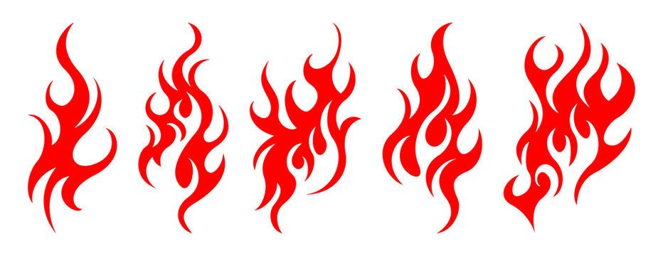 Set of vector fire design elements