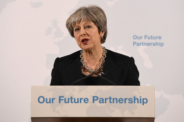 Britain's Prime Minister Theresa May delivers a speech about her vision for Brexit, at Mansion House in London