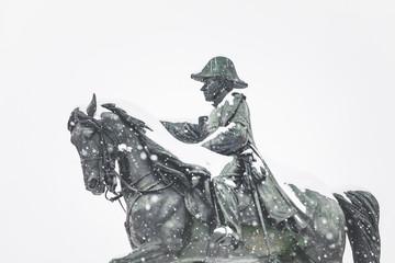 Snowing in Geneva city