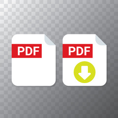 vector flat PDF file icon and vector pdf download icon set isolated on transparent background. Vector document or presentation icon design template for web site