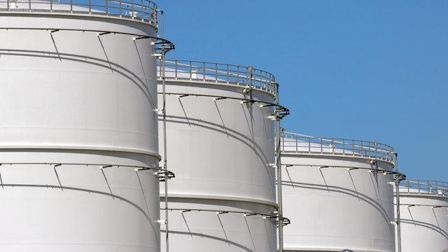 Row of oil storage tanks