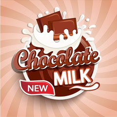 Label, logo of fresh chocolate milk on sunburst background. Milky splashing with drops from falling pieces of delicious chocolate. Vector illustration for your design, packaging and advertising.