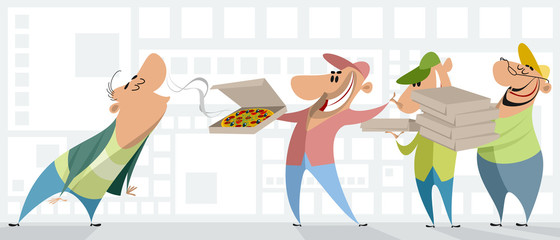 Pizza couriers and client