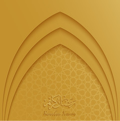 Ramadan Kareem greeting card template with mosque door and arabic pattern gold background