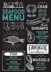 Seafood restaurant menu. Vector food flyer for bar and cafe. Design template with vintage hand-drawn illustrations.