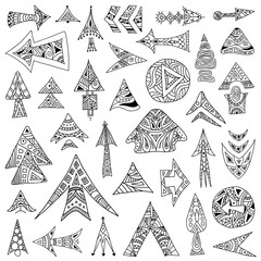 A collection of sketches arrows of different shapes. Vector illustration. Doodle style.