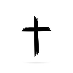 Icon cross with shadow ona white background