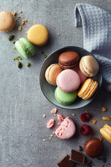 Spoed Foto op Canvas Macarons Colorful macarons on gray marble background