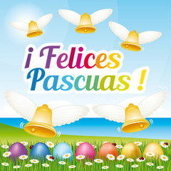 Beautiful and colorful Happy Easter greeting card with easter eggs and bells. Vector spanish illustration I.