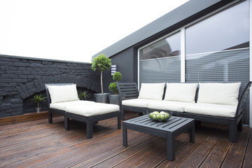 White garden furniture on terrace