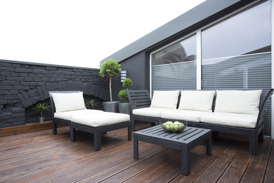 White garden furniture on terrace