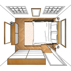 3d illustration freehand sketch drawing of furnished bedroom