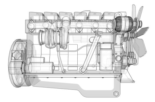 A big diesel engine with the truck depicted in the contour lines on graph paper. The contours of the black line on the white background.