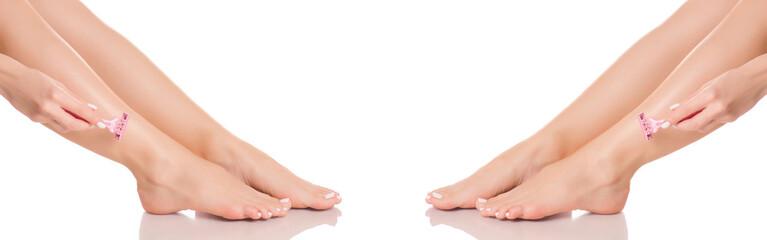 Set female feet legs heel of foot razor from different directions medicine beauty health