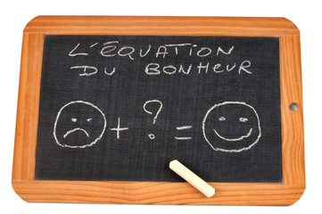 L'équation du bonheur sur une ardoise