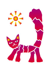 Cat and sun. Graphic picture, positive drawing.  Purple and yellow. Vector.