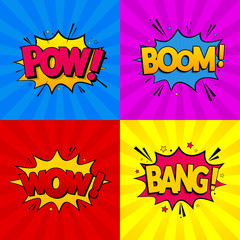 Set of comic expressions Boom, Pow, Wow, Bang on colored backgrounds. Pop Art style. Vector illustration.