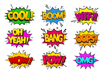 Collection comic speech effects. Colored set sound bubble effects in pop art style. Vector illustration. EPS 10.
