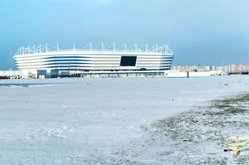 Foto op Plexiglas Stadion sports venue, sports construction, football stadium winter snow