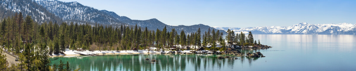 Wall Mural - Sand Harbor in winter panorama, Lake Tahoe east shore