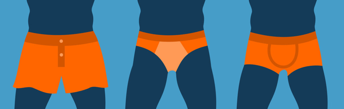 Different men's underwear and swinwear - shorts, pants, briefs, boxer briefs. Fashionable clothing and textile is covering genitalia. Vector illustration