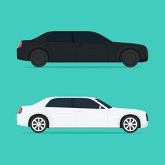 A black and white modern car sideways isolated on a light background. Vector illustration.