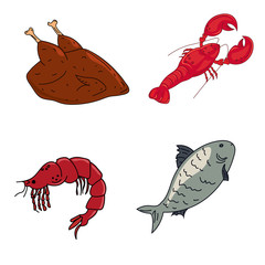 Meat and seafood, lobster, shrimp, fish and chicken. Dietary meat