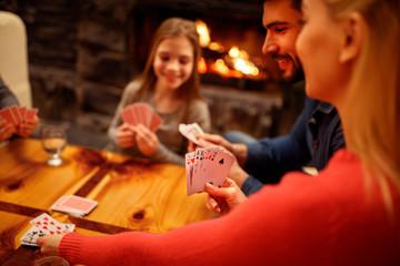 People playing card game