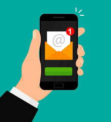New email notification on mobile phone. E-mail marketing concept. Vector illustration. Flat design. EPS 10.