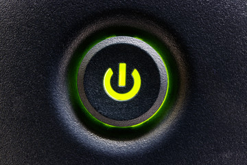 Computer Power Switch or Button with Green Highlight