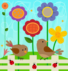 Flowers and Birds - Spring clip-art of two birds and ladybugs standing on a fence, and colorful flowers behind them. Eps10