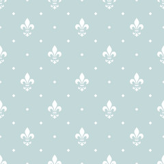 Flower geometric pattern. Seamless vector background. White and blue ornament