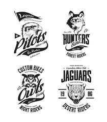 Vintage jaguar, wolf, eagle and owl bikers club t-shirt vector isolated logo set. Premium quality motor band logotype tee-shirt emblem illustration. Wild animal mascot street wear tee print design.