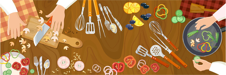 Chef cooks preparing food cook hands on the kitchen table top view vector
