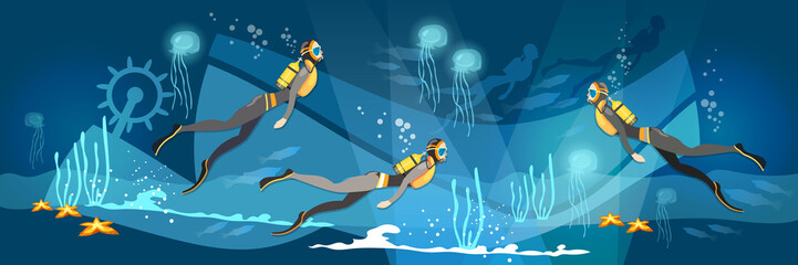 Professional diver banner and diving training vector. Diving banner underwater people diver silhouettes