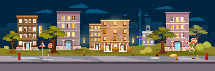 Cityscape night panoramic banner, city town night life vector illustration