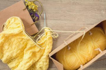 Light yellow knitting wool a