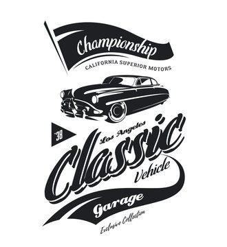 Vintage vehicle vector logo isolated on white background. 