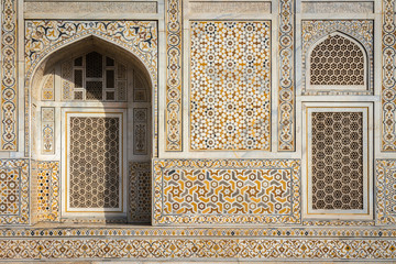 "Facade of ""Baby Taj"" mausoleum in Agra - a draft of the famous Taj Mahal."