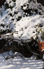 Beautiful English garden is under the snow in winter. Concept: garden club and gardening. Vertical image.