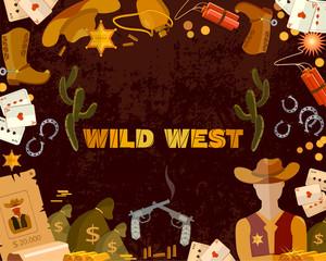 Wild West background. Cowboy, sheriff, guns, money. Western accessories concept
