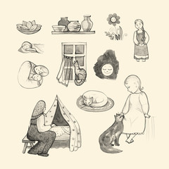 Goodnight set, hand-drawn design elements. Mom and baby. Folk.