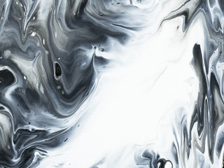 Abstract hand painted black and white background