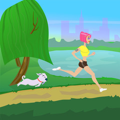 Creative design on the topic of healthy lifestyle. The girl is engaged in sports with the dog outdoors, in a Park, vector illustration