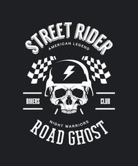 Vintage bikers club vector t-shirt logo isolated on dark background. Premium quality skull in helmet logotype tee-shirt emblem illustration. Street wear legendary rider old retro tee print design.