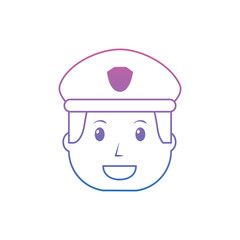 policeman smiling icon image vector illustration design  purple to blue ombre line