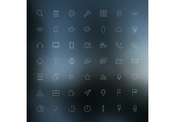 49 Line Art Icons Set